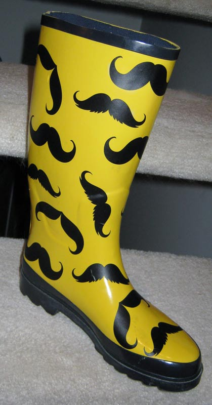 DIY Mustache Rain Boots with Wall Decals