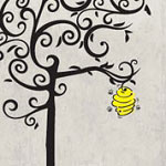 Bee Hive Tree Vinyl Wall Art, Wall Decal