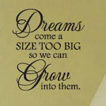 Dreams Come True Bedroom Wall Decal, Animal Vinyl Wall Quote