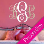 Fancy Monogram Letter Wall Decal, Personalized Family Vinyl Wall Art