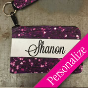 Sequin Glitter Wristlet Coin Purse with Custom Name