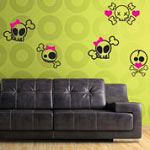 Girly Skulls Vinyl Wall Decal