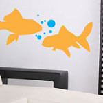 Goldfish Wall Decals with Bubbles