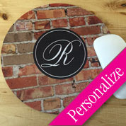 Custom Mouse Pad, Grungy Monogram Round Mouse Pad