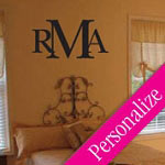 Simple Monogram Wall Decal, Custom Family Vinyl Wall Art