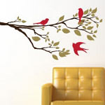Spring Tree Branch with Birds