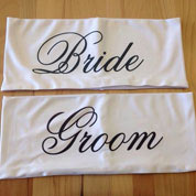 Bride & Groom Chair Band, Personalized Wedding Chair Sash