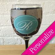 Grungy Wine Glass Cooler, Monogrammed Wine Glass Sleeve Cozy