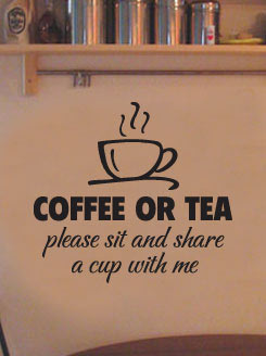 Coffee Or Tea Removable Wall Decals Vinyl Art Stickers