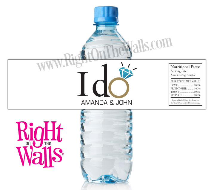 Custom Wedding Water Bottle Labels I Do with Ring