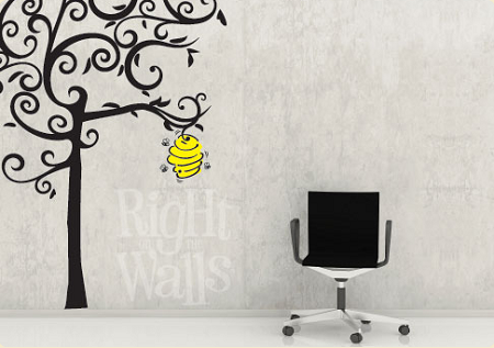 sc 1 st  Right on the Walls & Bee Hive Tree Wall Decals Vinyl Art Stickers