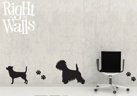 Puppy Silhouettes Wall Decal, Animal Dog Vinyl Wall Art