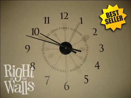 Kitchen Wall Clock With Green Gold Burgandy