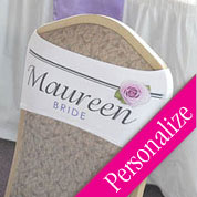 Rose Chair Band, Personalized Wedding Chair Sash
