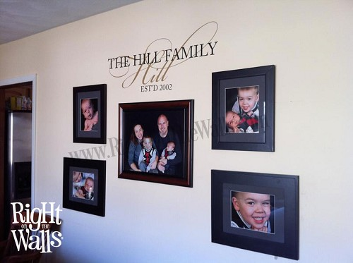 Personalized Family Wall Decal, Custom Fancy Family Wall Sticker