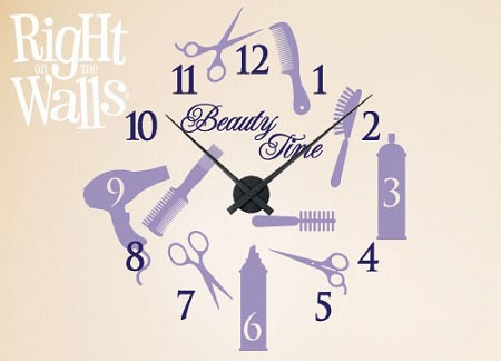 Beauty Time Vinyl Wall Decal Salon Clock