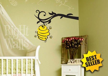 Bee Hive Tree Branch Kids Vinyl Wall Decal