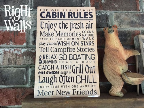 Our Cabin Family Rules Metal Sign Custom Personalized Decor