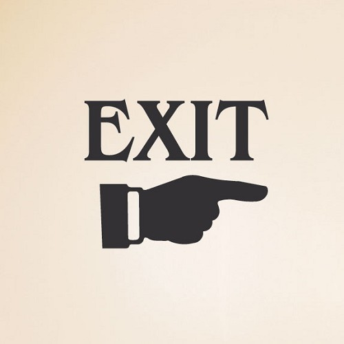 Exit Wall Sign with Pointing Finger