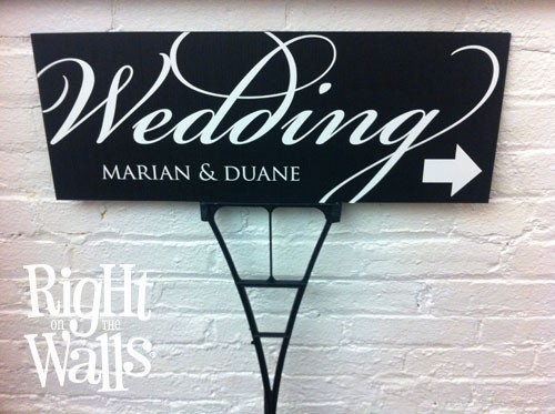 Fancy Wedding Outdoor Directional Personalized Sign
