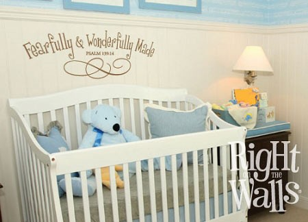 Fearfully & Wonderfully Psalm Nursery Vinyl Wall Quote