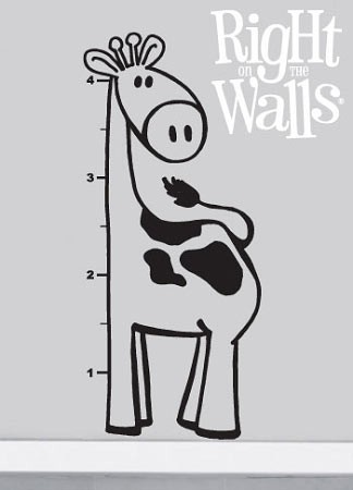 Giraffe Growth Chart Vinyl Wall Art, Kids Wall Decal