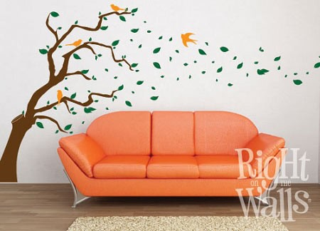 Gust of Wind Tree Vinyl Wall Decal