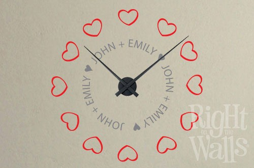 Hearts Vinyl Wall Clock