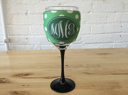 Pattern Wine Glass Cooler, Monogrammed Wine Glass Sleeve Cozy