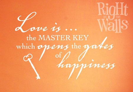 Master Key Bedroom Wall Decal, Vinyl Wall Quote