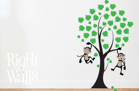 Monkey Tree Wall Decal Vinyl Wall Art