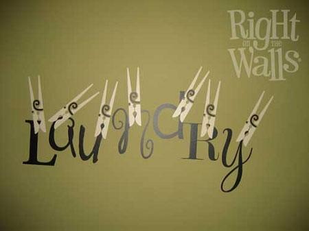 Pinning Up Laundry Vinyl Wall Decal