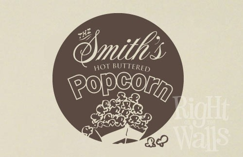 Family Theatre Popcorn Wall Decal, Game Room Custom Vinyl Wall Art