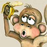 Banana Monkey Printed Wall Decal Vinyl Wall Art Mural