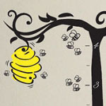 Bee Hive Growth Chart Kids Vinyl Wall Decal