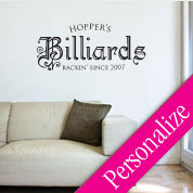 Billiards Pool Wall Decal, Man Cave Manly Custom Vinyl Wall Art