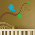 Bird On Tree Branch Wall Decal, Vinyl Wall Art