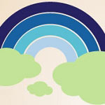 Blue Rainbow Wall Decal, Kids Vinyl Wall Art
