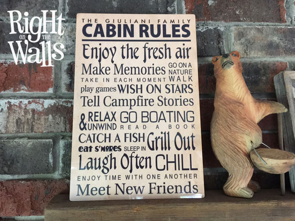 Top Our Cabin Family Rules Metal Sign Custom Personalized Decor LX71