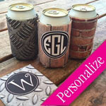 Grungy 12oz Can Cooler Monogrammed Cozy