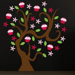 Cupcake Tree Wall Decal Vinyl Wall Art