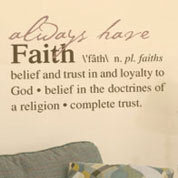Faith Definition Wall Decal, Vinyl Wall Art