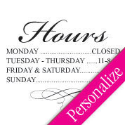 Fancy Business Hours Window Decal, Hours of Operation Sign