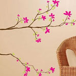 Double Tree Branch with Flowers Wall Decal