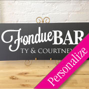 Fondue Bar Table Sign, Personalized Wedding Sign