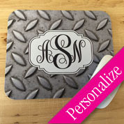 Monogram Mouse Pad, Grungy Shabby Mousepad, Personalized Mouse Pad