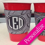 Grungy Red Solo Cup Cooler Monogrammed Cozy