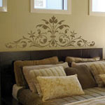 Floral Headboard Bedroom Wall Decal, Vinyl Wall Art