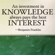 Invest in Knowledge Wall Quote, Vinyl Wall Saying