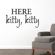 Here Kitty Wall Decal, Cat Vinyl Wall Art, Animal Wall Decor